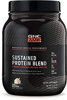 GNC AMP Sustained Protein Blend - Vanilla Milkshake, 2.04 lbs, High-Quality Protein Powder for Muscle Fuel