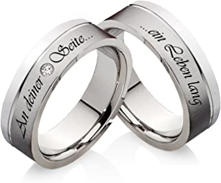 frencheis Wedding Rings Engagement Rings Made of Stainless Steel with Cubic Zirconia and Your Custom Laser Engraving Z111