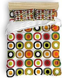 VCFUN Family Comfort Bed Sheet Mid Century Modern 4 Piece Bedding Sets Bells WreathsGeometric Polyester Duvet Cover Hypoallergenic Oversized Bedspread, Queen Size