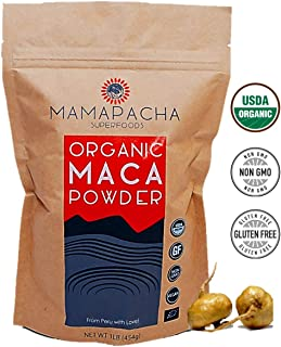 Maca Organic Powder Root 1LB - Yellow Peruvian raw Maca 100% Natural Energy Supplement/Use in Protein Smoothies & Baking/Superfood for Weight Loss, Hormonal & Immune Health/Raw & Vegan Friendly
