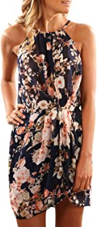 Asvivid Women's Summer Halter Neck Floral Print Sleeveless Casual Mini Dress