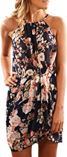 Women Halter Neck Boho Print Sleeveless Casual Mini Beachwear Dress Sundress