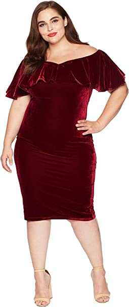 Plus Size Velvet Draped Sophia Wiggle Dress