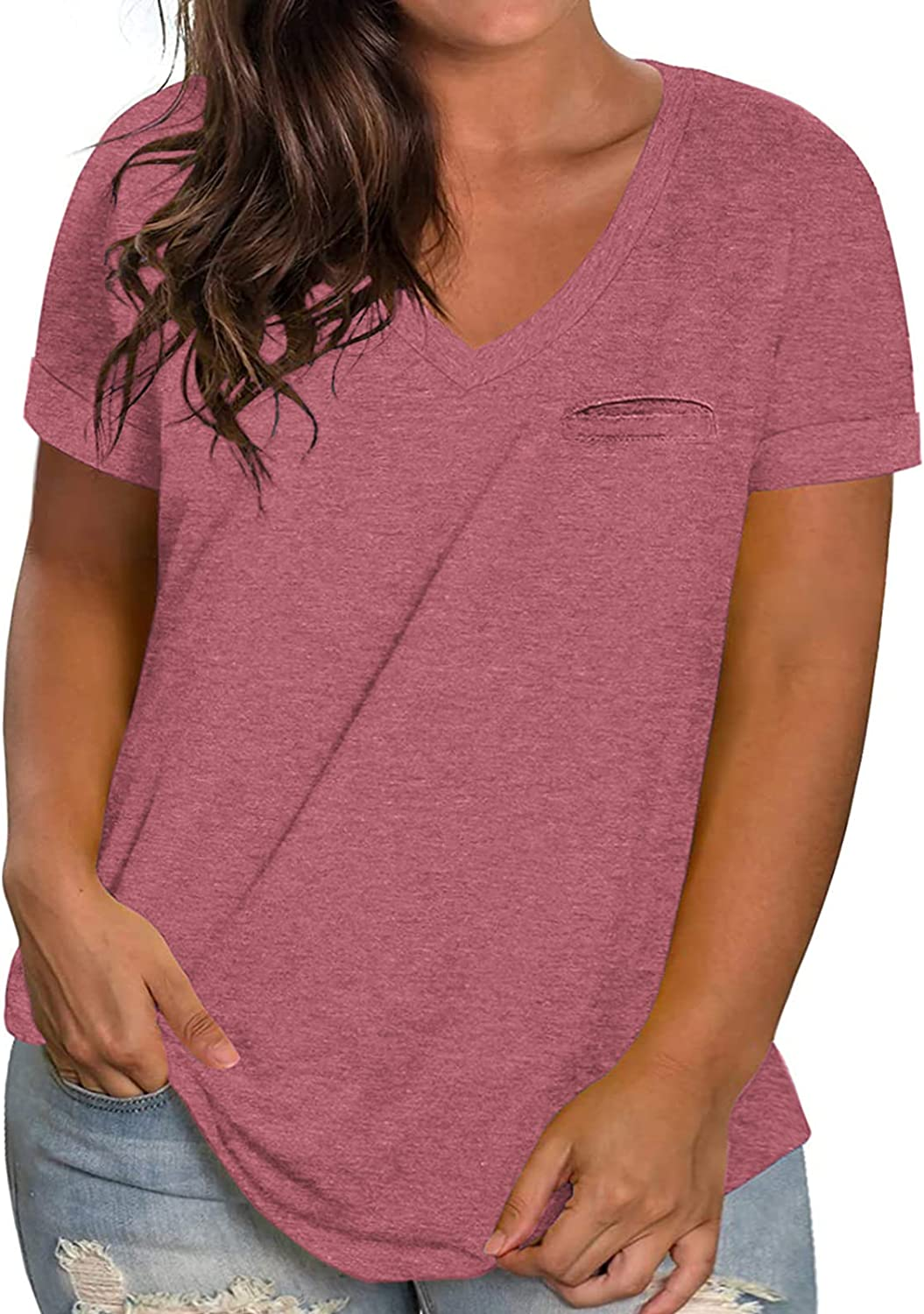ROSRISS Womens Plus-Size V Neck T Ranking TOP19 Shor Shirts Tops Summer Rolled Ranking TOP19