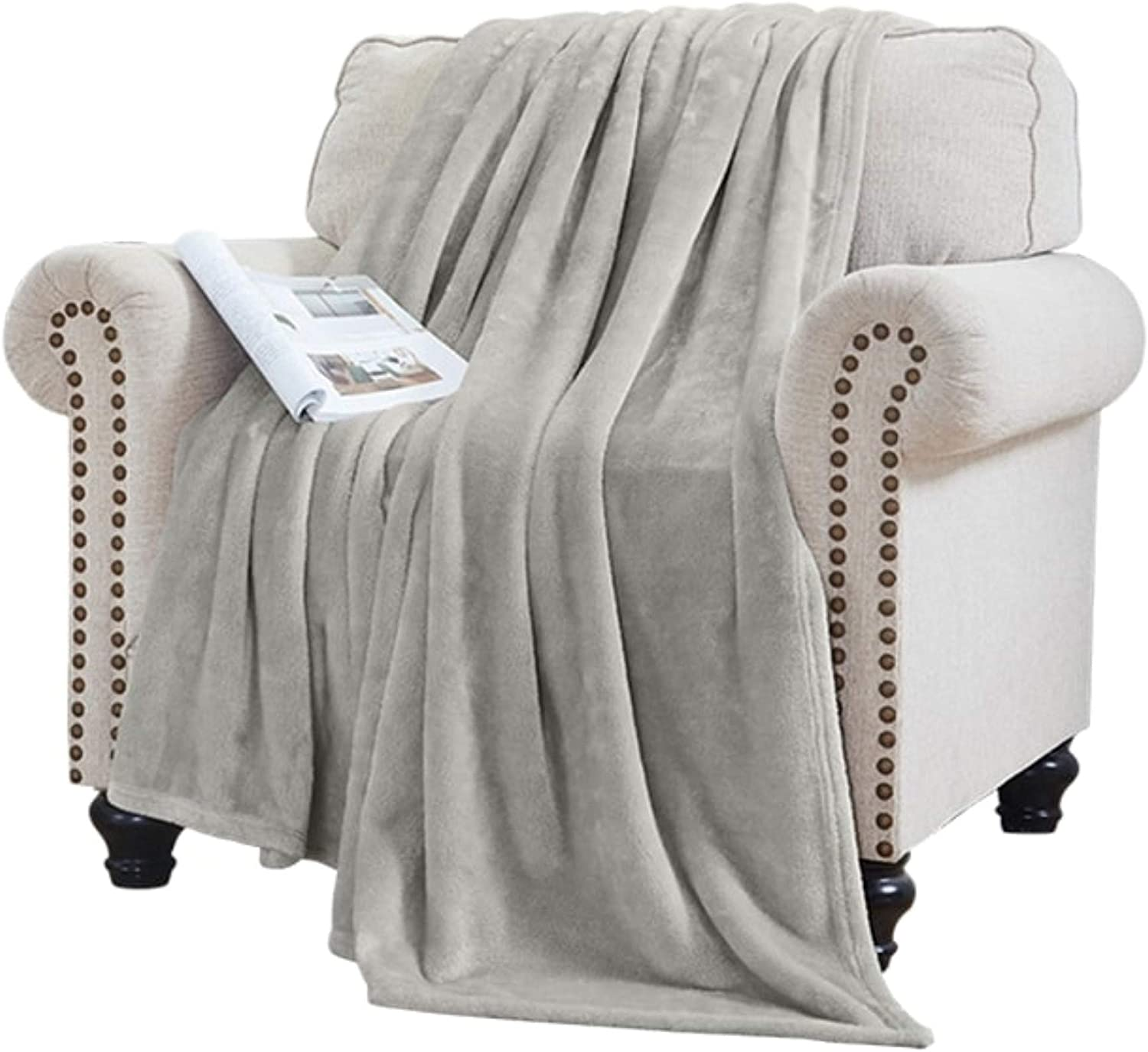 Elle Decor Solid Plush Oversized Throw Blanket - Silky Soft and Cozy Flannel Fleece, for Bed and Couch - Oversized Throw 60