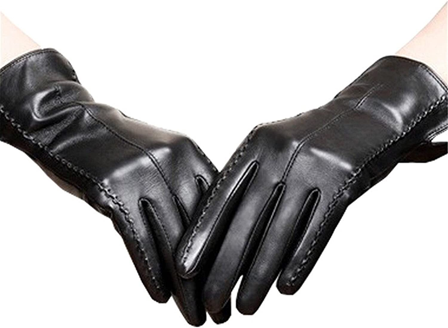 Women's Black Leather Gloves Touchscreen Texting Driving Winter Warm PU Leather Gloves for Outdoor Activities