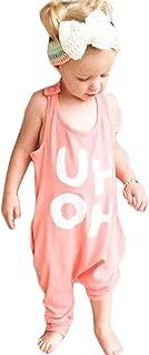 Baby Boy Girl Harem Jumpsuit Letters Print Romper Onesies Piece Pants Summer Tank Sunsuit Playsuit