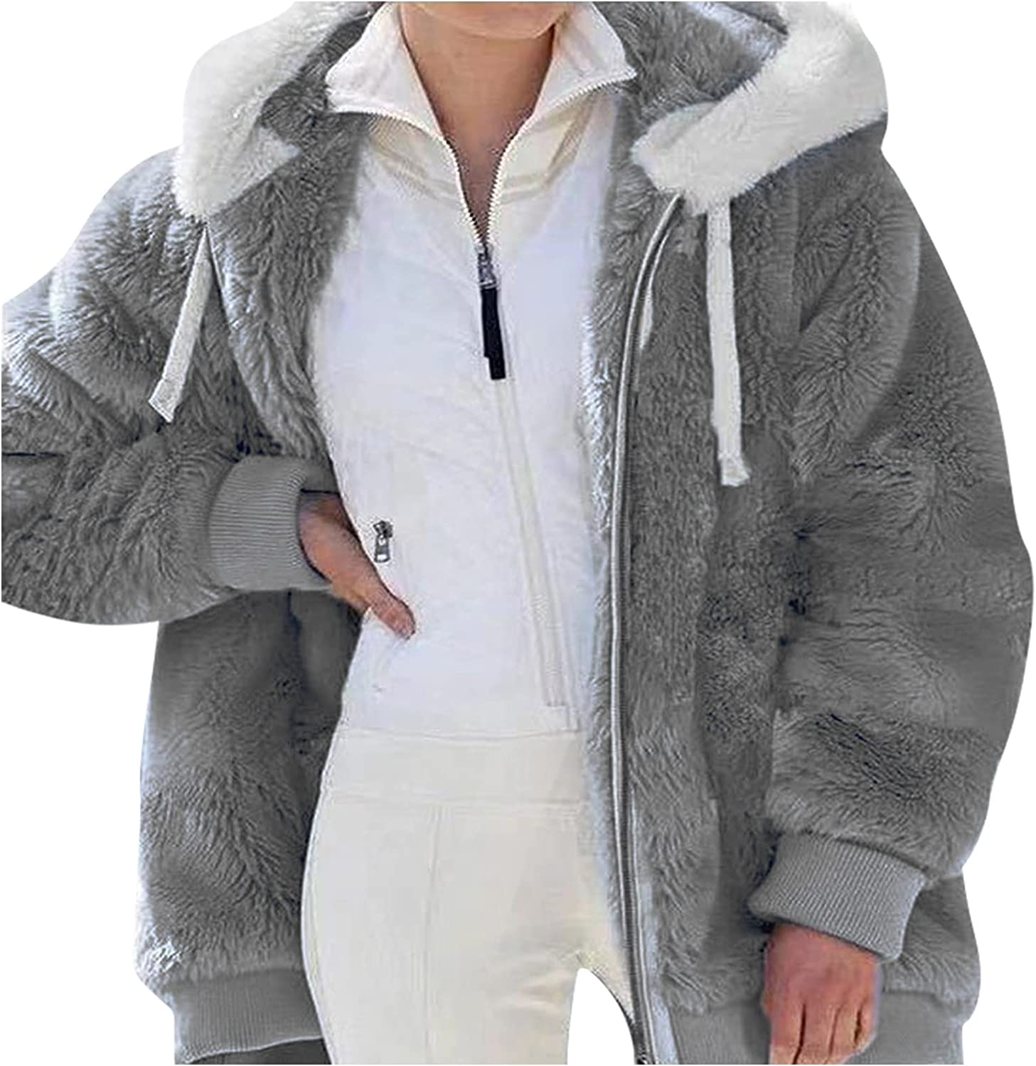 Women's Hooded Winter Jacket Zip Up Plus Size Faux Shearling Fluffy Warm Coats Long Sleeve Comfort Tops with Pockets