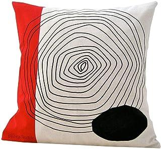 Cojín de dibujo geometrico rojo y negro,diseño original BeccaTextile.