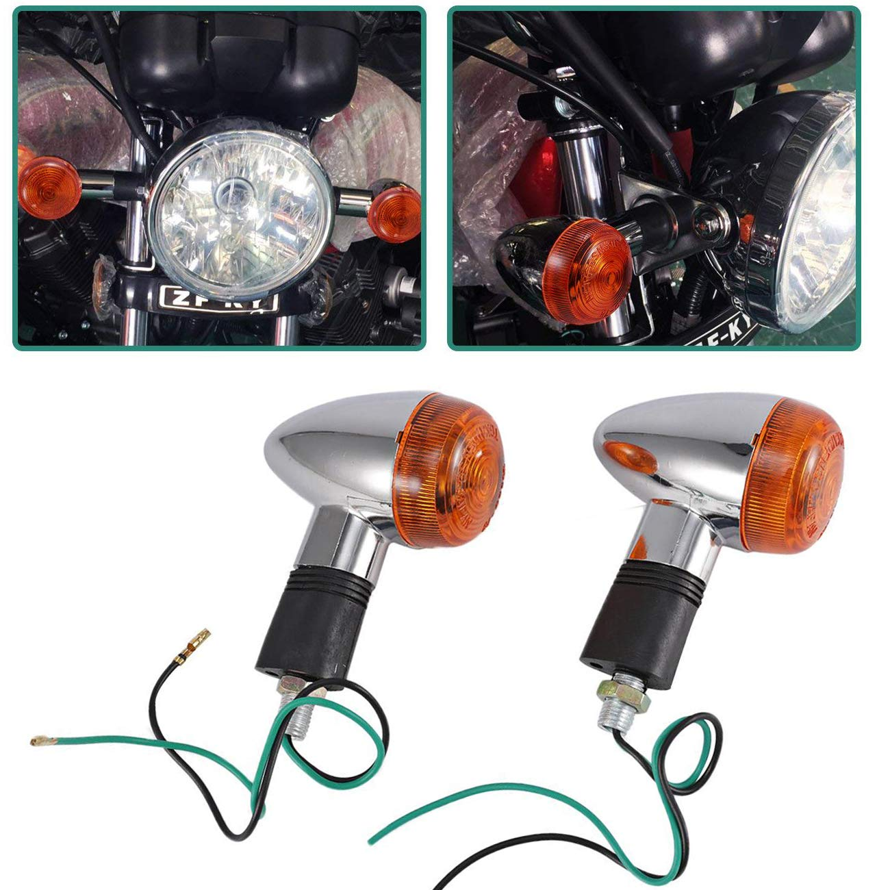 2x smoke motorcycle LED turn signal indicator light Harley chopper bobber chrome