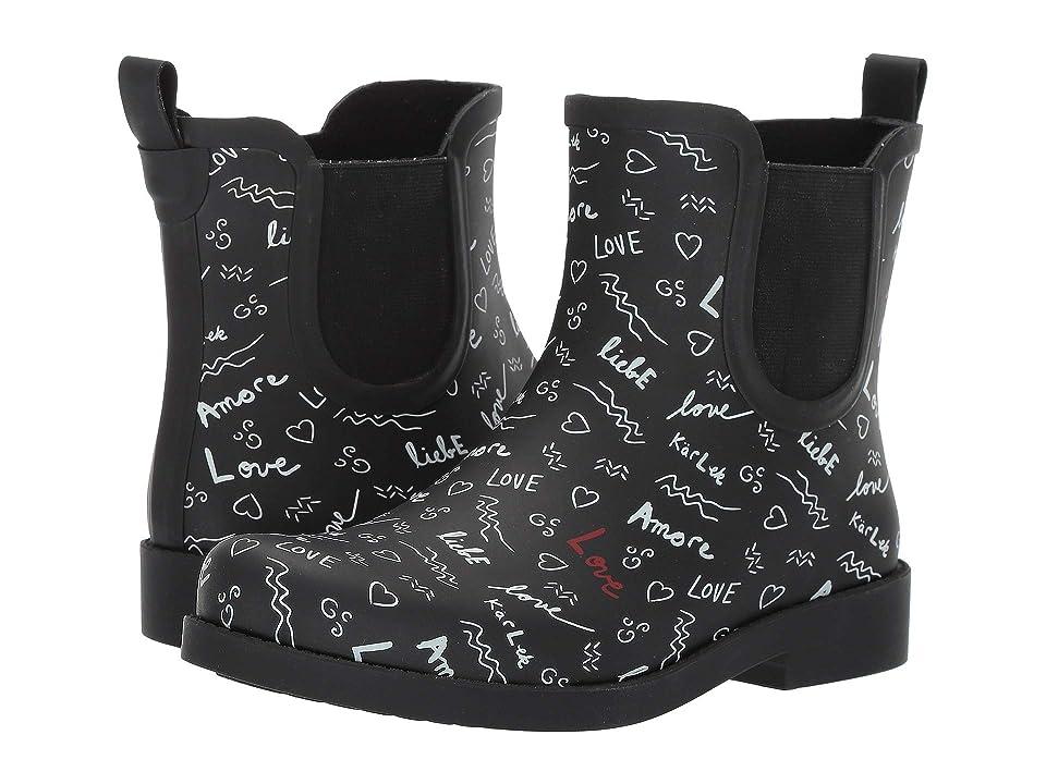 ED Ellen DeGeneres Wallita Rain Boot (Black/White Graffiti) Women