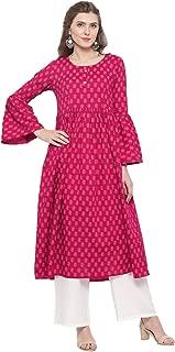 Sera Women's Ethnic Wear Printed Bell sleeve Kurta with Offwhite palazzo Round Neck/Three-Quarter Sleeves Calf Length Kurta