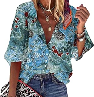 UUYUK Women's Button Up Shirt 1/2 Sleeve V Neck Casual Print Tunic Tops