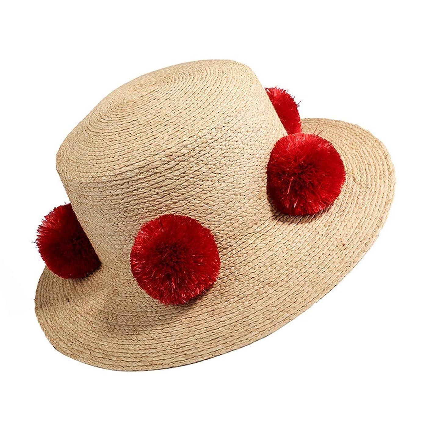 オリエンテーションマイルストーン料理麦わら帽子 レディース 軽量のシンプルさ夏の涼しい編まれた流行の浜の日曜日の帽子 (Color : One color, Size : 56-58cm)