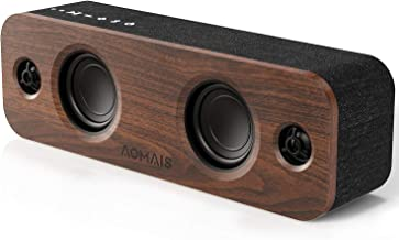 Best AOMAIS Life Bluetooth Speaker, 30W Loud Home Party Wireless Bluetooth Speakers, 2 Woofers&2 Tweeters for Super Bass Stereo Sound,TWS and 100Ft Bluetooth V5.0,12-Hour Playtime Subwoofer, Imitation Wood Review