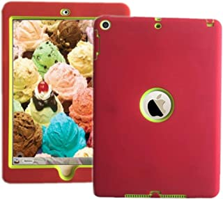 iPad Shockproof Case 3 in 1 Hybrid Rubber Back Cover Shell for New iPad 9.7 inch 2017 Version Model Numbers A1822 A1823 MP2G2LL/A MP2J2LL/A MPGT2LL/A MPGW2LL/A MP2F2LL/A MP2H2LL/A Red with Green