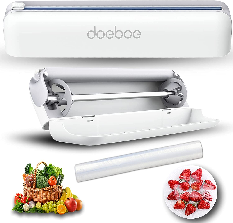 doeboe Plastic Wrap Dispenser with Cutter, Food Wrap Dispenser Slide Cutter, Reusable Cling Film Cutter Dispenser, Easily-Stretch Aluminum Foil Dispenser with A Free Cling Film Wrap Inside