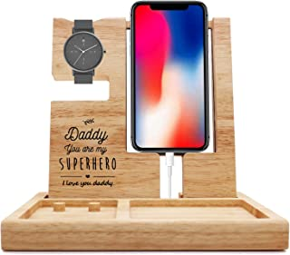 Dad You are My Hero -Wooden Desk Docking Station -Nightstand Organizer with Ring Jewelry Holder Present for Dad Birthday F...