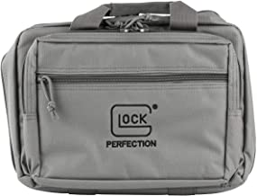 "Glock Apparel Double Pistol Case, Gray, 12.5"" X 9.5"" X 4.5"", Padded Compartments, Holds 2 Handguns, 5 Magazines, Ammo, and..."
