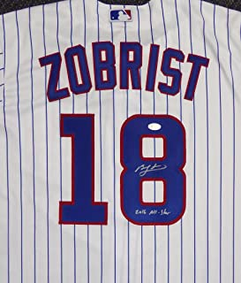 CHICAGO CUBS BEN ZOBRIST AUTOGRAPHED WHITE MAJESTIC COOL BASE JERSEY