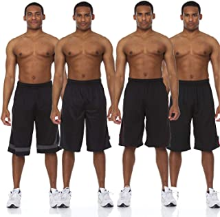 4 Pack: Men's Active Performance Athletic Basketball Gym Knit Shorts with Pockets
