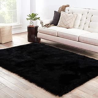 LOCHAS Soft Faux Sheepskin Fluffy Rugs for Bedroom Kids Room, High Pile Faux Fur Area Rug Bedside Floor Carpet Photography, 3x5 Feet Rectangular Black