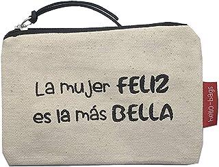 Hello-Bags - Monedero de Algodón 100%, Blanco, 14 x 10 cm