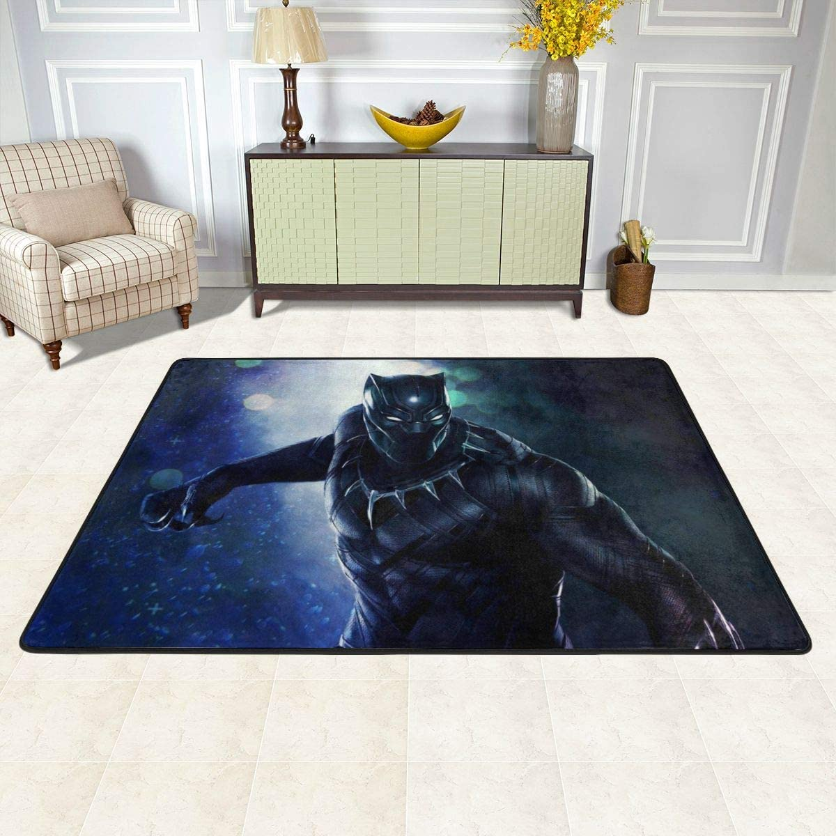 Bl-ack Pan-Ther Carpet Area Bedroom Camping Soft Mat Kids Boys Girl Blankets Kindergarten Home Room Comfortable and Durable Decor Rug Polyester-72 x 48 inch