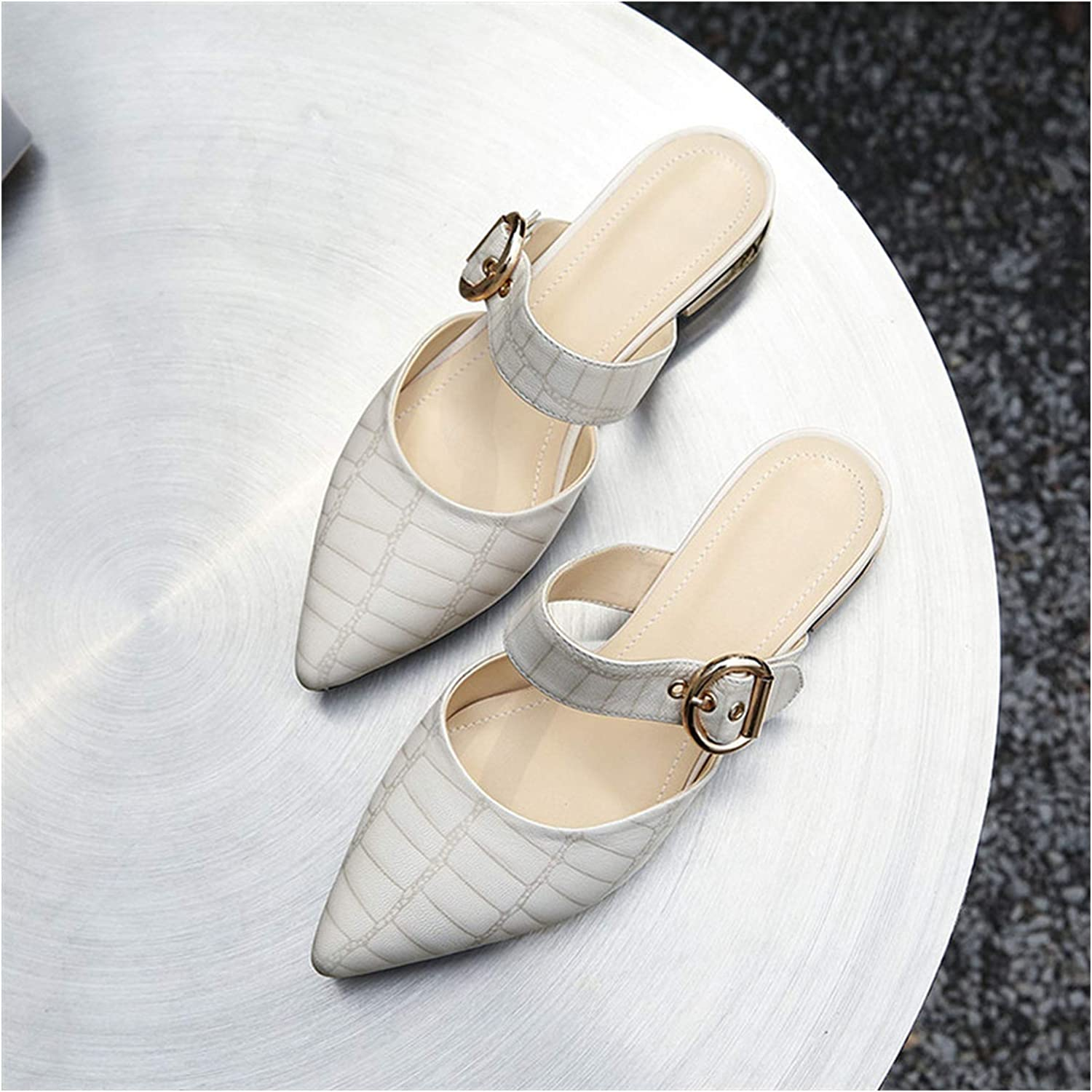 Longbao Fashion Leather shoes Women Low Heels Sandals Fashion Close Toe Summer