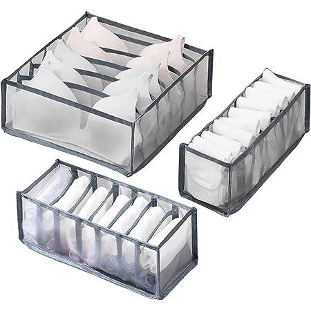 3PCS Underwear Storage Box Compartment with 6//7//11 Nylon Divider Bra Foldable Underwear Drawer Organizer Closet Dividers for Socks Underwear