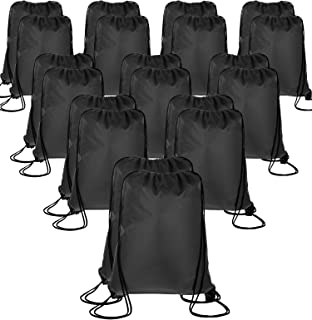 20 Pieces Drawstring Backpack Sport Bags Cinch Tote Bags for Traveling and Storage (Black 1, Size 1)