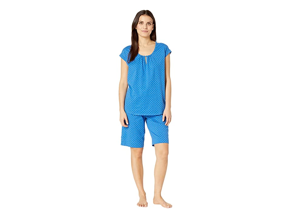 Karen Neuburger Petite Cosmopolitan Short Sleeve Bermuda Set (Dot/Chambray) Women