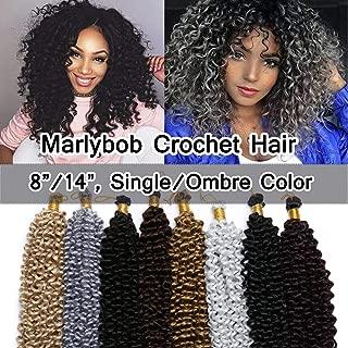 SEGO Marlibob Marlybob Crochet Braids Hair Extension 14 Inch Water Wave Crochet Braiding Hair Braids Kinky Curly Afro Jerry Curl Crochet Hair Weave for Black Women #Dark Blonde 3 Bundle