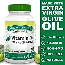 Vitamin D3 10,000 IU Non GMO 360 Mini Softgels (10000 iu cholecalciferol) Soy Free, USP Grade Natural Vitamin D
