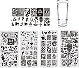 Titcch New Nail Art Stamping Plate Set,5Pcs Nail Stamping Plate Set Holloween Theme Image Templates, Manicure Print Tool For Starter Nail Art Stamping Plate Set