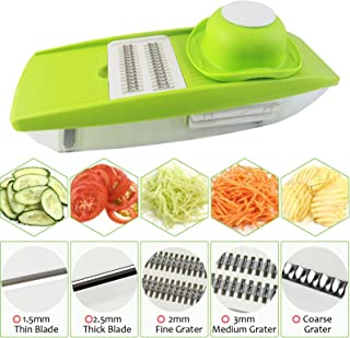 Shareway 5 Blades Handheld Mandoline Slicer Adjustable Vegetable Cutter Food Storage Perfect for Potato/Cucumber/Carrot/Onion/Cheese etc Kitchen Accessories (with a Vegetable Peeler)
