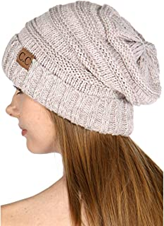 SERENITA Knit Beanie Hat, Soft Warm Cable Winter Chunky Cap, Oversized Slouchy Stretching, Pompom, for Women