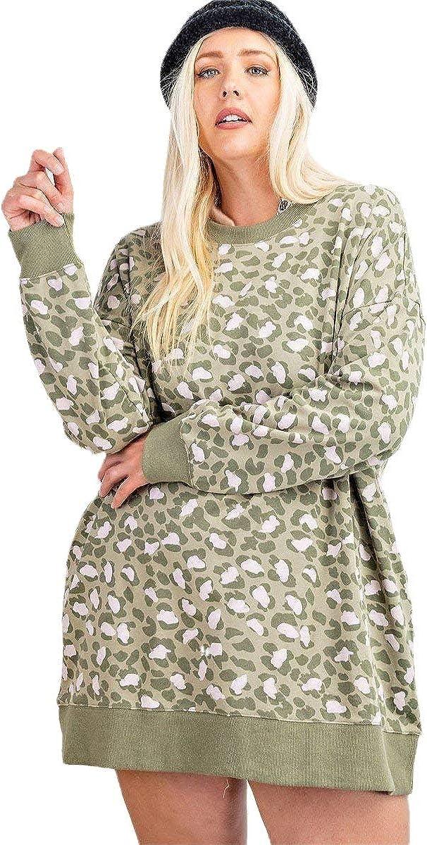 Shop Buy Leopard Printed Knit Terry Dress Popular Popular overseas
