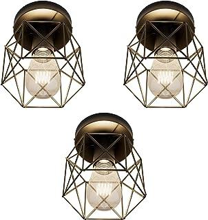 Klighten Lot de 3 Plafonnier Vintage E27 Éclairage de Plafond Intérieur Rétro Luminaire Plafonnier Industriel Noir Hexagon...