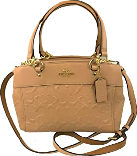 Coach Women's Signature Brooke's Carryall Top Zip Medium Cross-body Handbag/Tote, Leather - Nude Pink