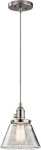 "high quality Kichler 43851NI Avery online Pendant sale Light, 8.75"" 1, Brushed Nickel online sale"
