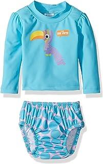 KIKO & MAX Baby Girls Rashguard and Diaper Cover Swim Set