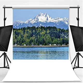 Bainbridge Island Puget Sound Mount Olympus Snow Mountain Washington State Photography Backdrop,038942 for Photography,Flannelette:5x7ft