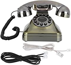 $64 » CiCiglow Vintage Telephone Antique Desk Phone Corded Retro Phone Rotary Antique Dial Handset Corded Desk Home with US/UK W...