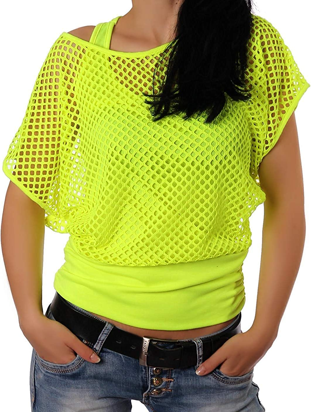 1980s Clothing, Fashion | 80s Style Clothes Smile Fish Women Casual Sexy 80s Costumes Fishnet Neon Off Shoulder T-Shirt $21.99 AT vintagedancer.com