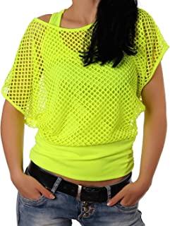 Women Casual Sexy 80s Costumes Fishnet Neon Off Shoulder T-Shirt