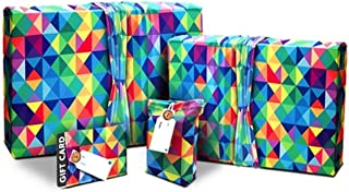 Birthday Gift Wrap (Use as Gift Bags Too) - Stretchy Fabric and Eco Friendly - Multicolor - 4 Items (2 Med, 2 Gift Card Holders with 2 Free Gift Tags) No More Wrapping Paper! Reusable Gift Wrap