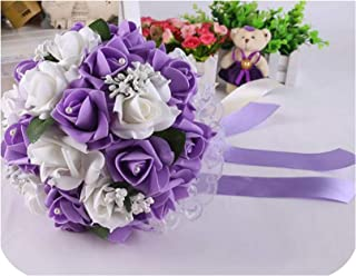 Beauty-Inside Wedding Bouquet Bridal Bouquet Bride Holding Flower Bridesmaid Wedding Foam Flowers Rose Wedding Flowers Bridal,White Purple