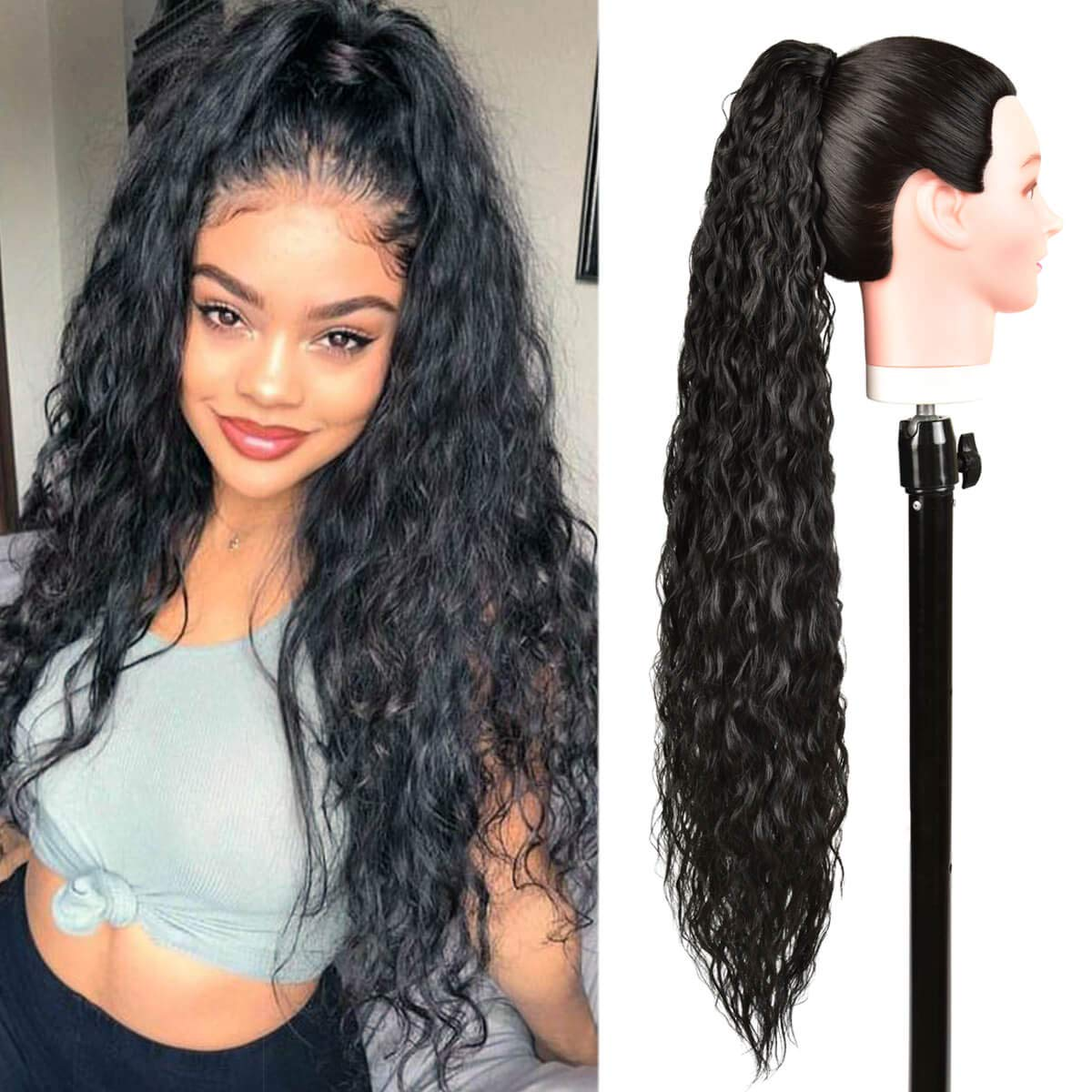 Max 84% OFF BHF 30inch Jacksonville Mall Long Curly Drawstring Heat Ponytail Resist Extension