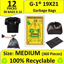 G-1® Black Medium Garbage Bags :19 inch X 21 inch | 12 Packs of 30 Pcs - 360 Pcs | Disposable Kitchen Trash Waste Dustbin Covers & Bags